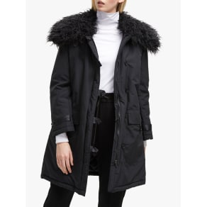 French Connection Marlow Utility Faux Fur Collar Parka, Black