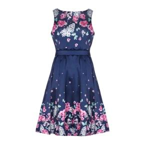 Mela London Mirrored Floral Prom Dress, Blue