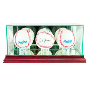 Perfect Cases Triple Baseball Display Case With Cherry Finish