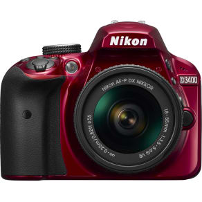 Nikon D3400 Dslr Camera With 18-55 Mm F/3.5-5.6 Vr Zoom Lens - Red, Red