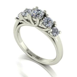 Moissanite 9ct White Gold 1ct Total Ring