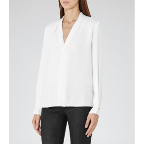Reiss Mapel - Long-Sleeved Wrap Top in White