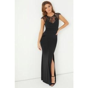 Lipsy Lace Yoke Maxi Dress - 4 - Black