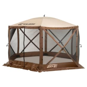 Clam Outdoors Quick-Set Escape Screen Shelter - 6 Sided With Wind Panel Flaps (Brown/Tan), Brown & Tan