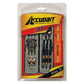 Accudart 301 Steel Tip Dart Set, Black