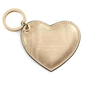 Heart Key Ring Gold Moire Leather