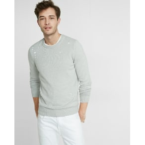 Express Mens Distressed Crew Neck Sweater