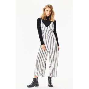LA Hearts Womens Striped Bodice Jumpsuit - White/Black