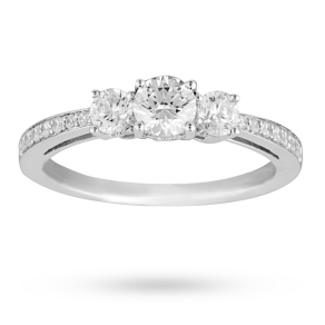 Brilliant Cut 1.00 Total Carat Weight Three Stone And Diamond Set Shoulders Ring Set In 18 Carat White Gold