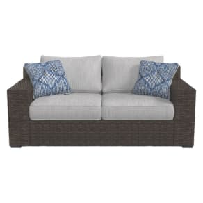 Alta Grande Loveseat With Cushion - Beige/Brown - Outdoor by Ashley