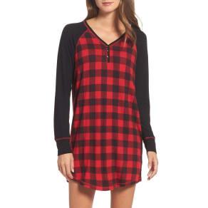Women's Pj Salvage Henley Nightshirt, Size X-Small - Black