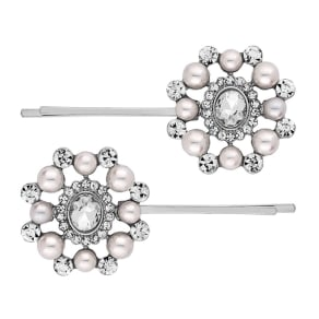 Mood Crystal and Pearl Cluster Hair Slide Set