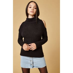 Lucca Couture Tatiana Cold Shoulder Turtleneck Sweater - Black