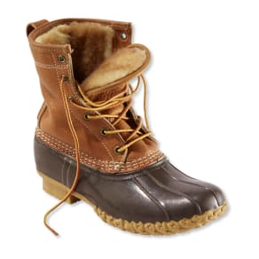 "Women's Bean Boots by l.l.beana, 8"" Tumbled-Leather Shearling-Lined"