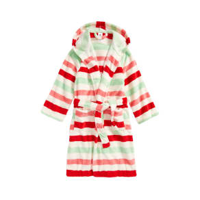 Girl's Tucker + Tate Hooded Fleece Robe, Size Xs (5-6) - Ivory
