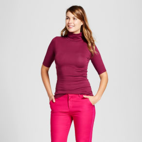 Women's Elbow Turtleneck - A New Day Cherry (Red) Xs