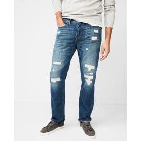 Express Mens Slim Straight Light Wash Destroyed0% Cotton Jeans