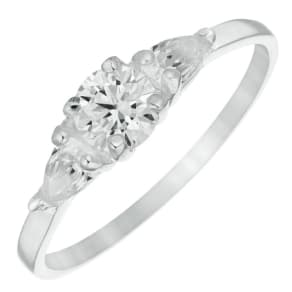 Sterling Silver Cubic Zirconia Three Stone Ring Size P