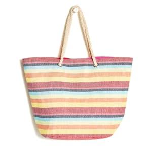 Pink Multicolour Stripe Beach Bag