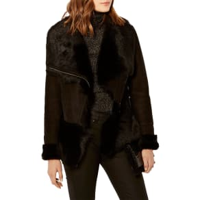 Karen Millen Luxury Shearling Leather Jacket, Black