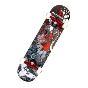 Punisher Skateboards Rose 31.5-Inch Complete Skateboard, Black/Red