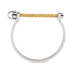 Charriol White Topaz Cable Bangle Bracelet (3/8 Ct. t.w.) in Stainless Steel & Gold-Tone Pvd Stainless Steel