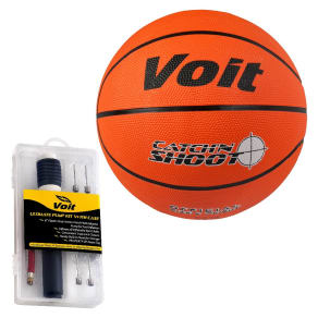 Voit Catch and Shoot Deflated Basketball - 9.5 With Ultimate Inflating Kit, Multi-Colored