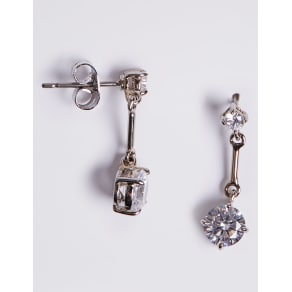 M&S Collection Platinum Plated Stick Diamante Drop Earrings