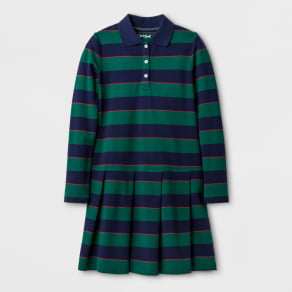 Girls' Long Sleeve Polo Shirtdress - Cat & Jack Green L