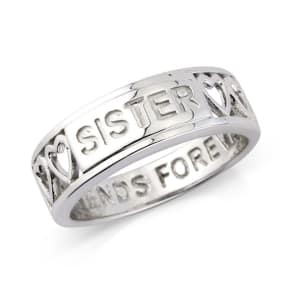 Precious Moments Silver 'Sister' Message Ring