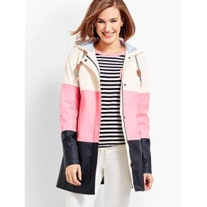 Talbots: Colorblock Raincoat
