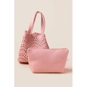 Darby Perforated Bucket Tote - Pink