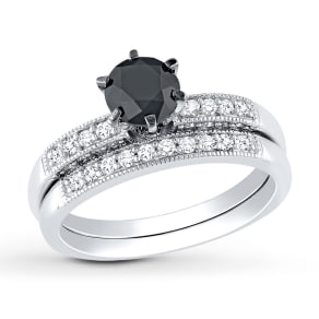 Diamond Ring Set 1-1/3 Ct Tw Black/White 10k White Gold