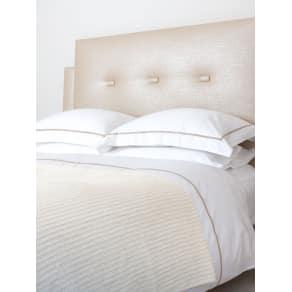 White & Green Organic Cotton Waffle Bedspread, White