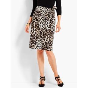 Talbots Women's Animal Print Faux Wrap Skirt