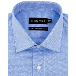 Double Two Big and Tall Blue Diamond Weave Formal Shirt
