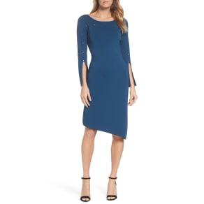 Women's Nic+zoe Studded Asymmetrical Dress, Size X-Small - Blue/Green
