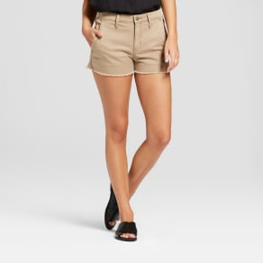 Women's High-Rise Shortie Jean Shorts - Universal Thread Khaki 14, Beige