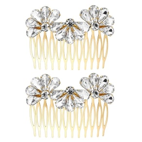 The Collection Gold Crystal Fan Hair Comb Set