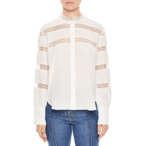 Women's Sandro Lace Inset Silk Blouse, Size 3 - White