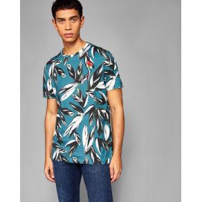 Ted Baker Leaf Print Cotton T-Shirt Teal