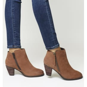 Office Lately Side Zip Ankle Boots Tan Nubuck