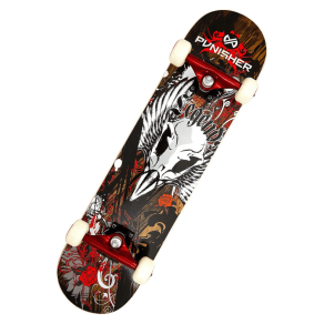 Punisher Skateboards Legends 31.5 Red Skateboard, Black And Red