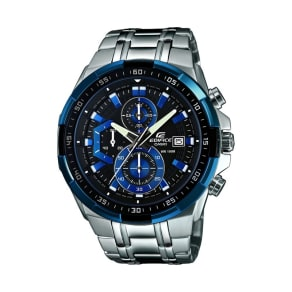 Casio Men's Silver 'Edifice' Stainless Steel With Black/Blue Dial Watch Efr-539d-1a2vue