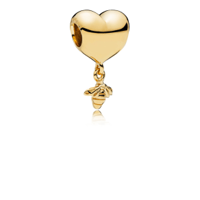 Pandora Heart and Bee Charm - 18ct Gold-Plated Sterling Silver