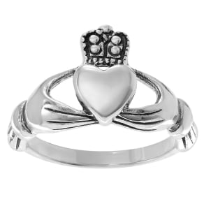 Women's Journee Collection Polished Claddagh Ring in Sterling Silver - Silver, 6