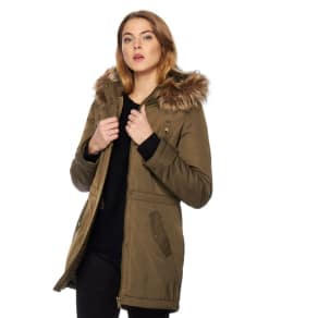 The Collection Petite Khaki Faux Fur Parka