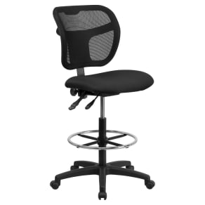 Mid-Back Mesh Drafting Chair With Black Fabric Seat - Flash Furniture