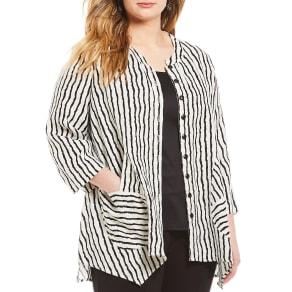 Ali Miles Plus Elbow Sleeve Stripe Tunic Jacket