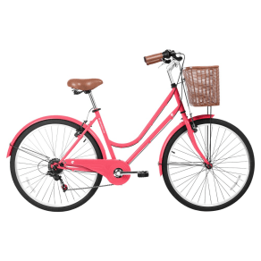 Gama Bikes Women's Basic 26 6-Speed Urban Hybrid Commuter - Coral, Pink